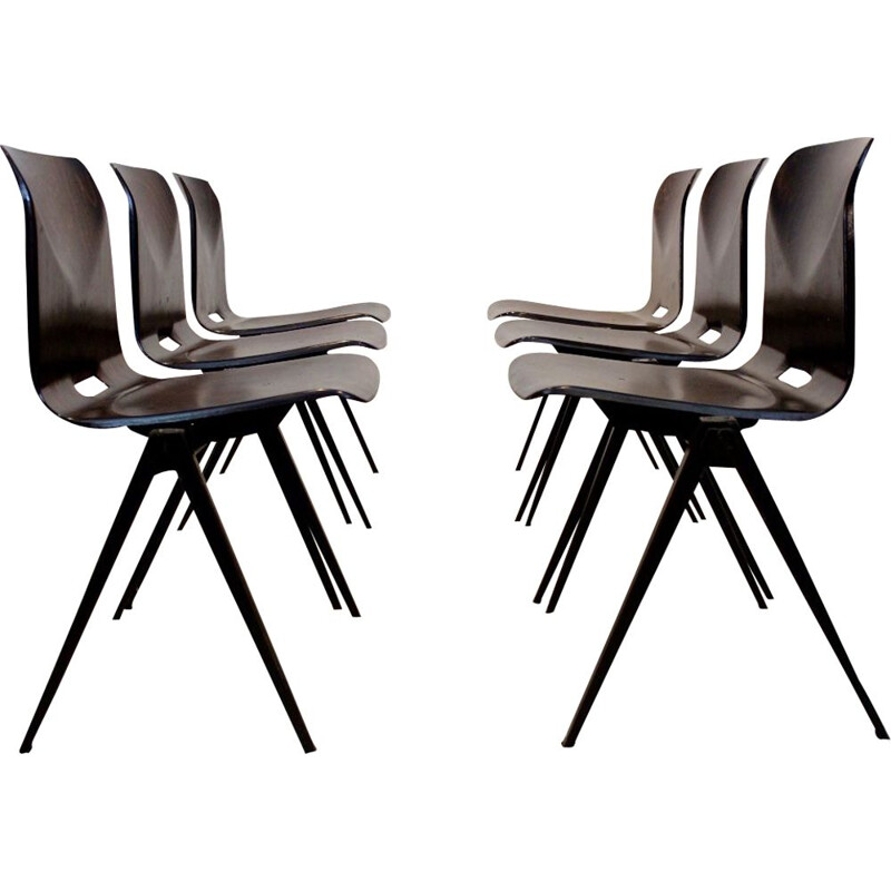 Vintage S22 stacking chairs by Galvanitas in plywood and steel