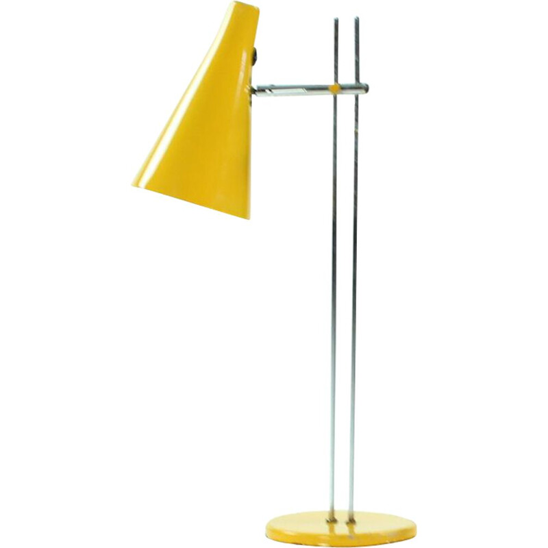Vintage yellow table lamp in metal by Lidokov 1960