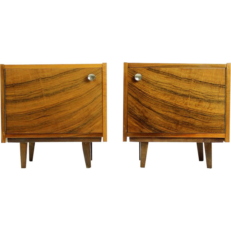 Set of 2 vintage cubical tables in walnut veneer from Czechoslovakia