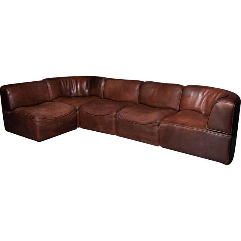 Vintage De Sede DS 15 modular leather sofa in brown leather 1970