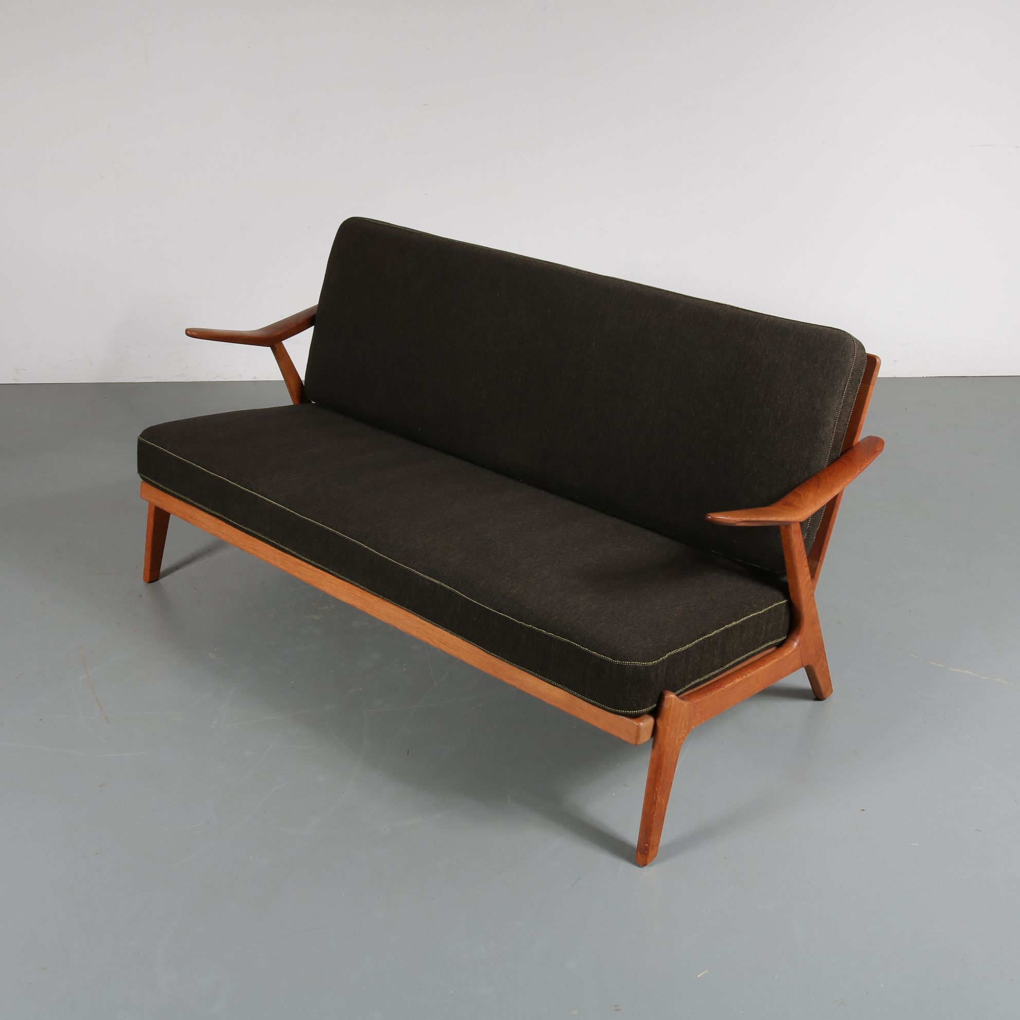 2 seater brown sofa arne wahl iversen 1950s design market