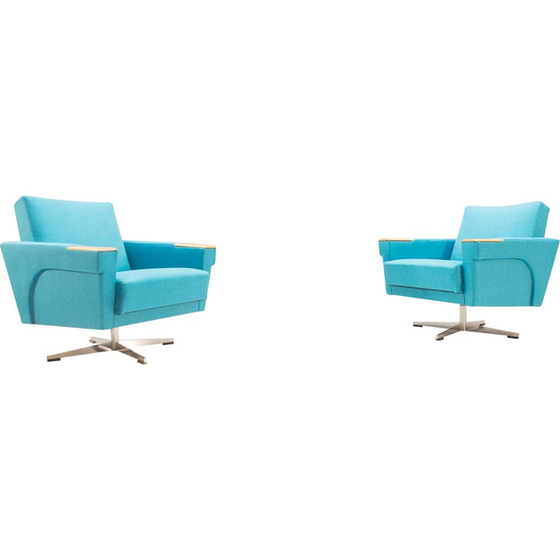 Set of 2 vintage swiveling armchairs in blue fabric and metal 1960