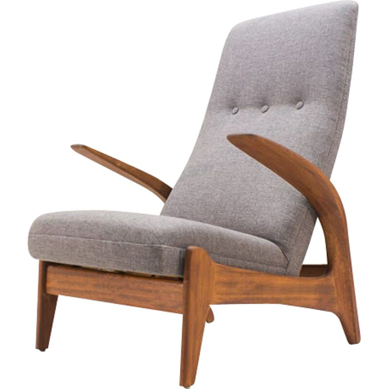 Vintage Rock n Rest armchair by Rastad and Relling in wood and fabric 1950