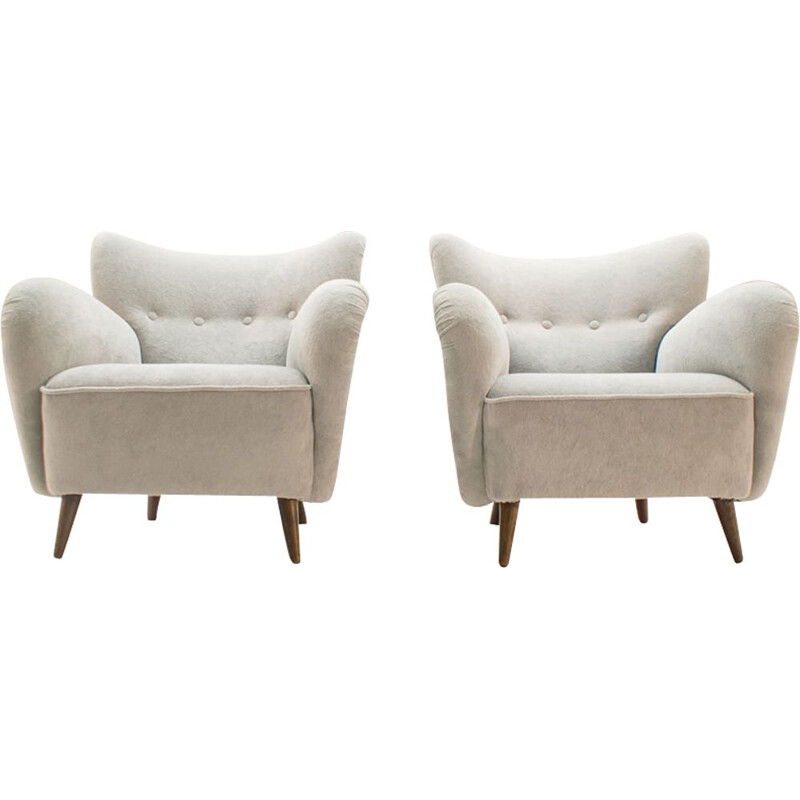 Set of 2 vintage italian armchairs in wood and fabric 1950