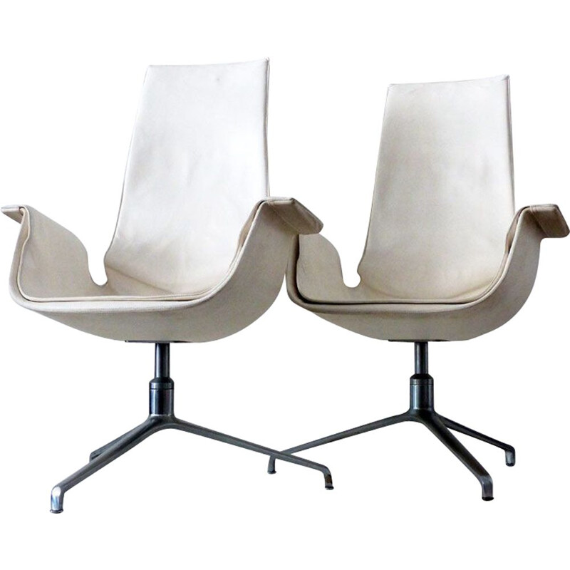 Set of 4 chairs vintage Tulip armchair 6725 by Fabricius Kastholm in leather and steel