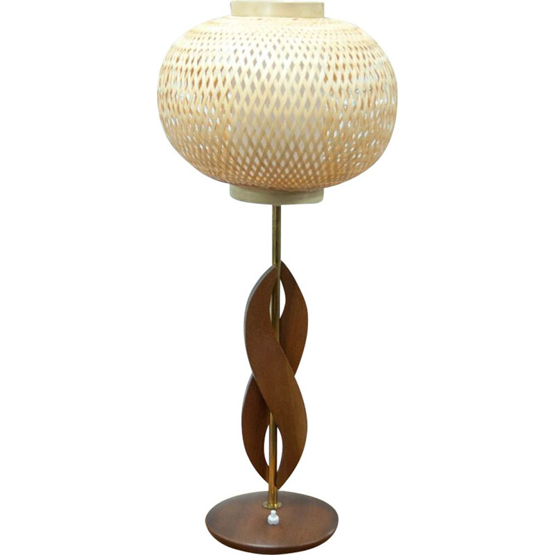 Vintage lamp in teak, brass and rattan