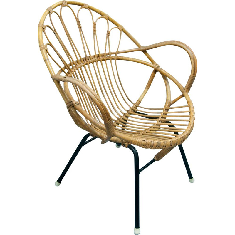Vintage armchair shell in rattan and black metal
