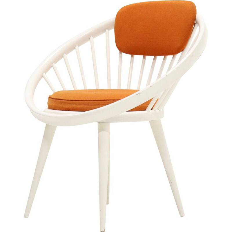 Vintage Swedish orange circle chair by Yngve Ekström for Swedese
