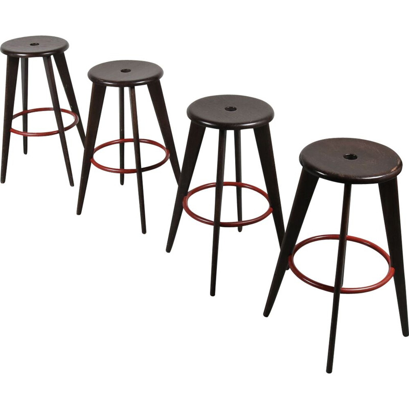 Set of 4 vintage stools by Jean Prouvé for Vitra