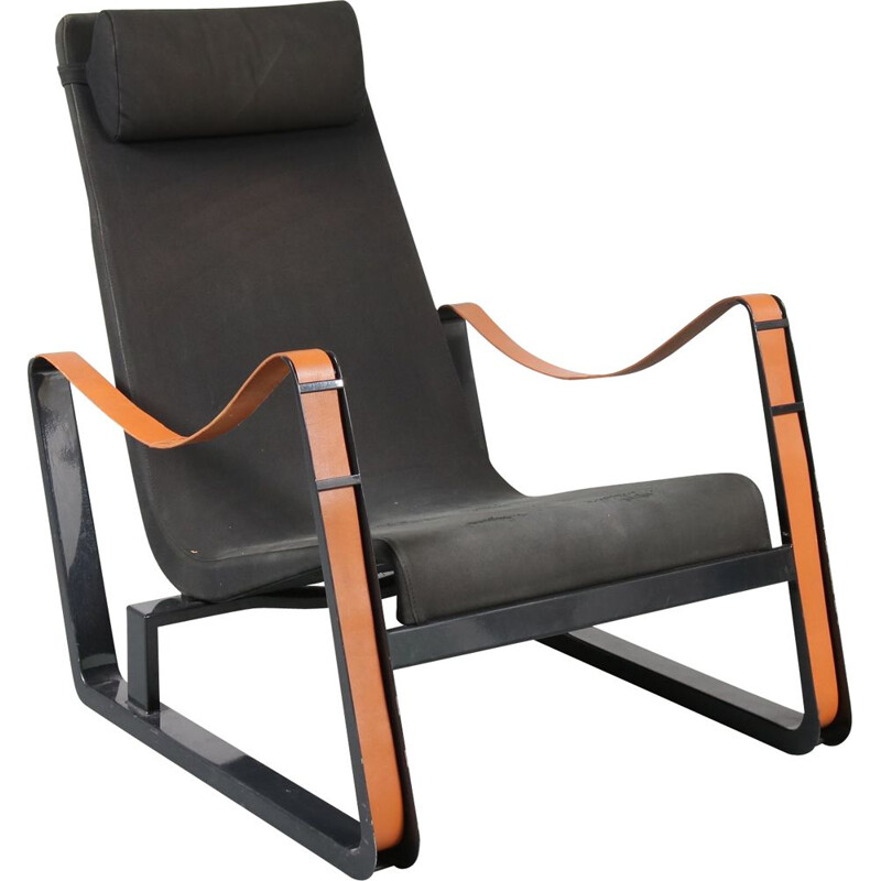 "Vintage armchair ""Cité"" in leather by Jean Prouvé"