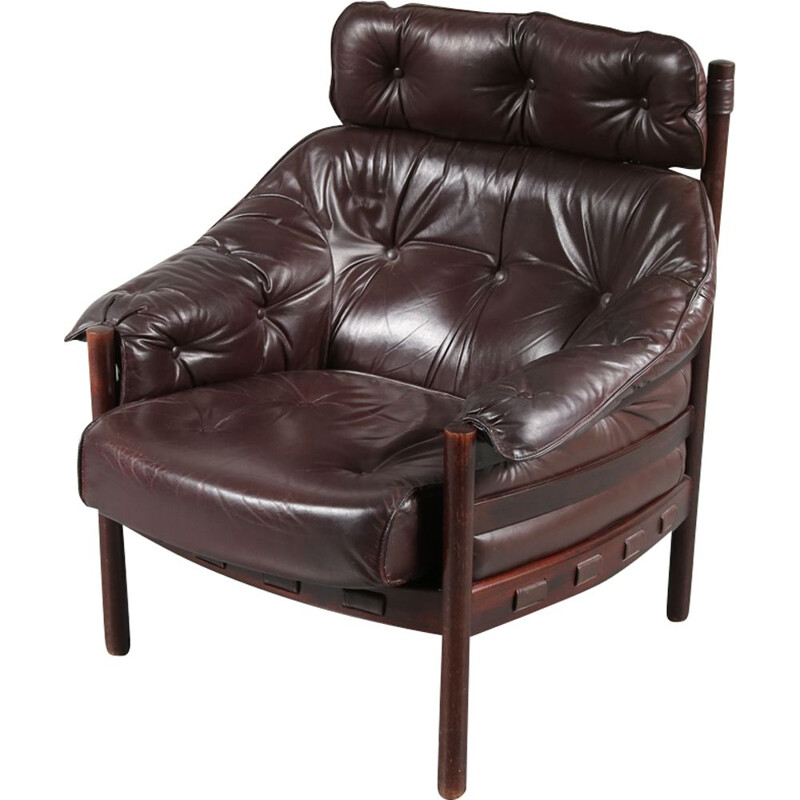 Vintage lounge chair in leather by Arne Norell for Coja