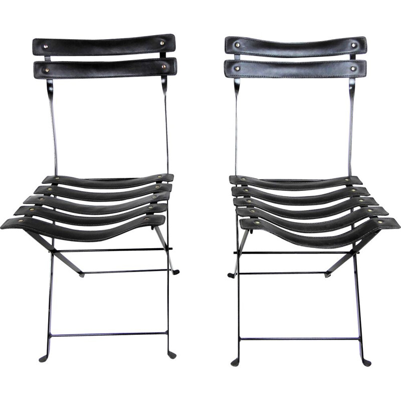 Set of 2 vintage folding chairs for Paquebot France