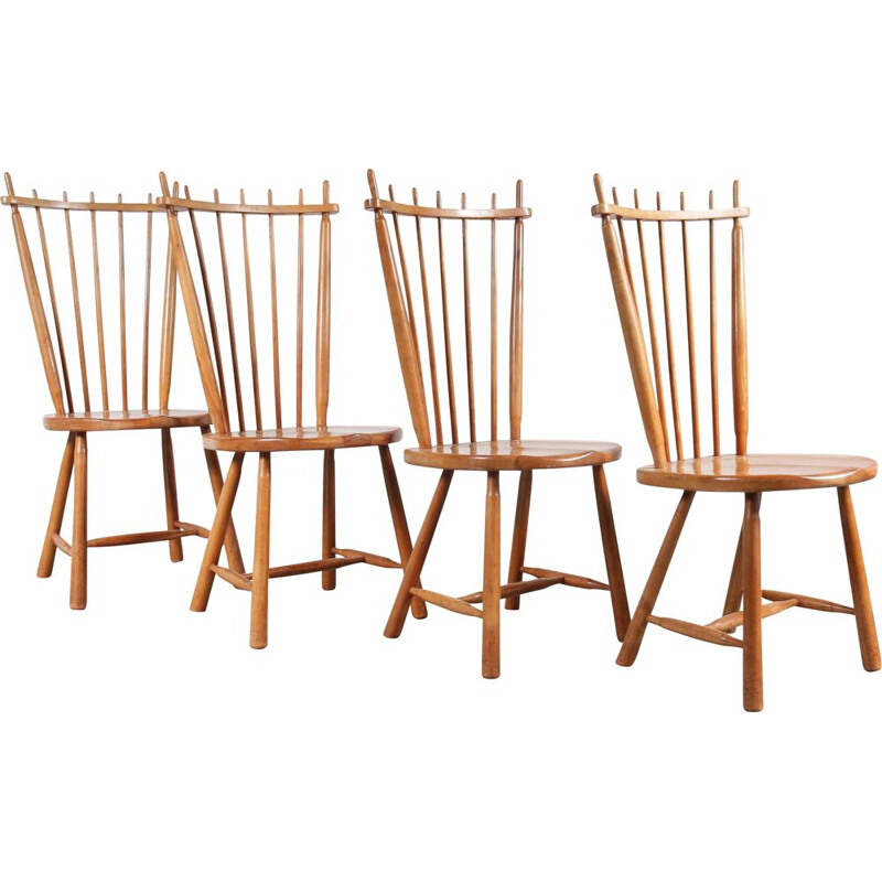 Set of 4 vintage Dutch dining chairs in birch wood