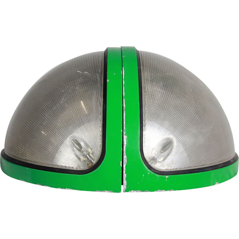 """2 vintage green lamps """"TOTUM"""" by Bocatto and Gigante for Zerbetto"""