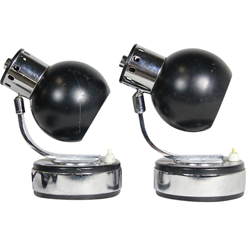 Pair of vintage black lamps by Goffredo Reggiani
