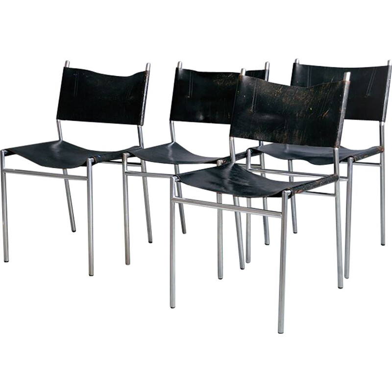 Set of 4 vintage SE06 chairs by Martin Visser