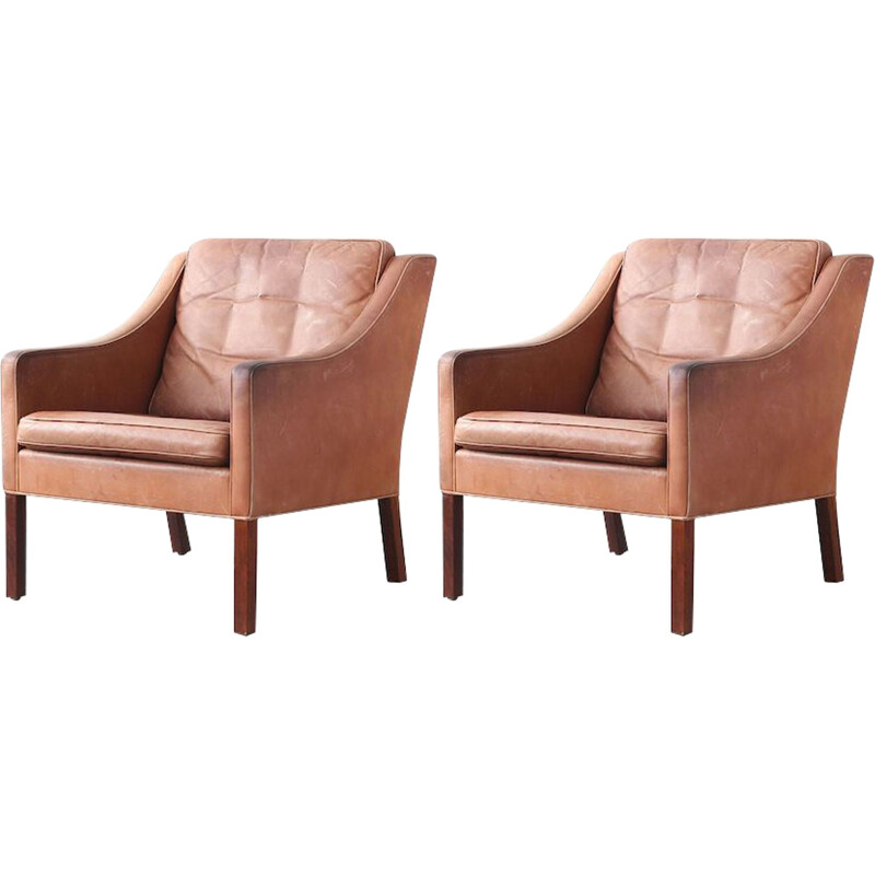 Pair of vintage armchairs 2207 Fredericia Furniture in leather and wood 1960