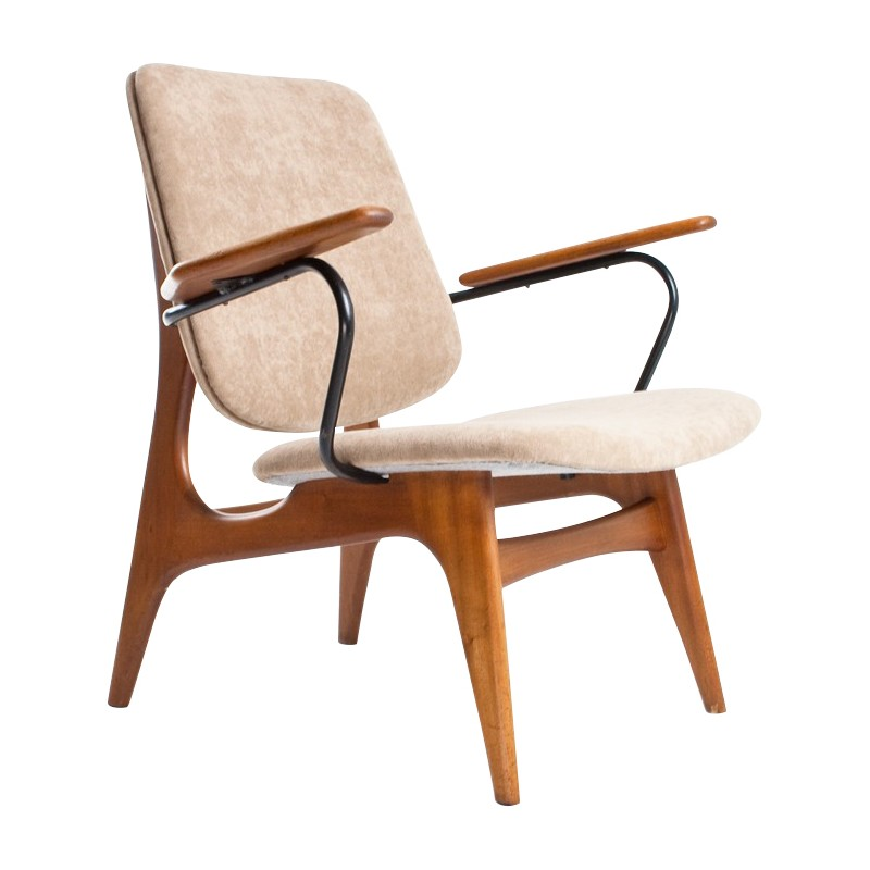 Dutch vintage easy chair in wood, fabric and metal - 1960s - Dutch Vintage Easy Chair In Wood, Fabric And Metal - 1960s - Design
