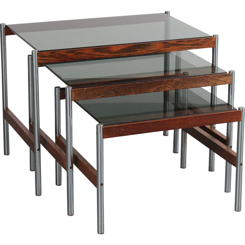 Nesting tables in glass and metal, Sven Ivar DYSTHE - 1960s