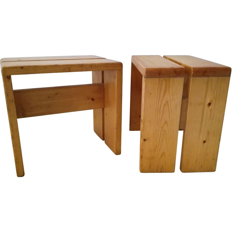 Pair of stools Charlotte Perriand for Les Arcs 1960s