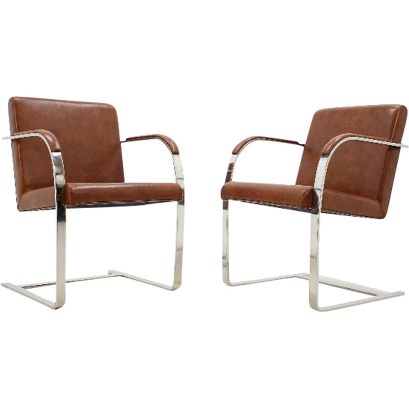 Pair of vintage brown leather armchairs by Mies Van Der Rohe