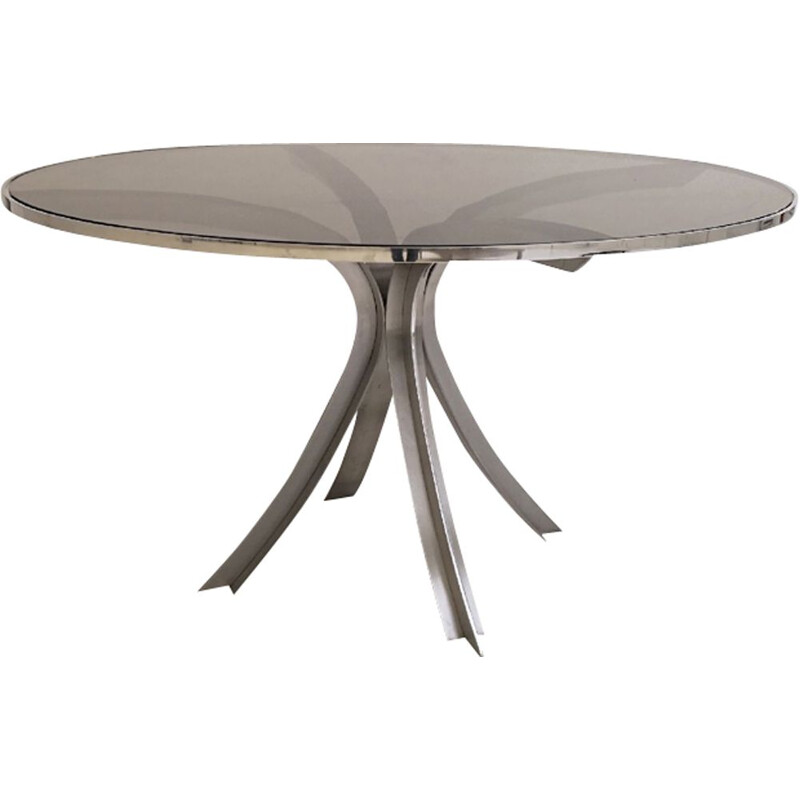 Vintage round dining table by Xavier Féal for Inox Industrie