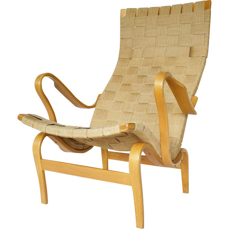 Vintage Pernilla chair by Bruno Mathsson in beige fabric and birchwood 1976