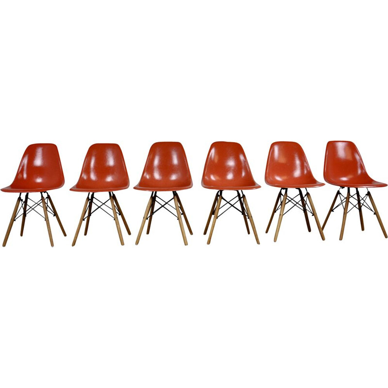 6 vintage red chairs DSW in fiberglass by Charles & Ray Eames for Herman Miller