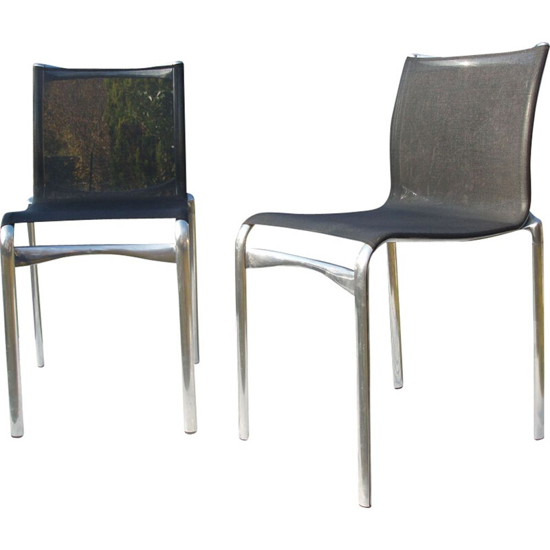 Set of 2 vintage chairs in aluminum by Alberto Meda for Alias