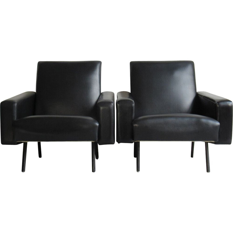Pair of vintage model Mexico armchairs for Meurop in black leatherette