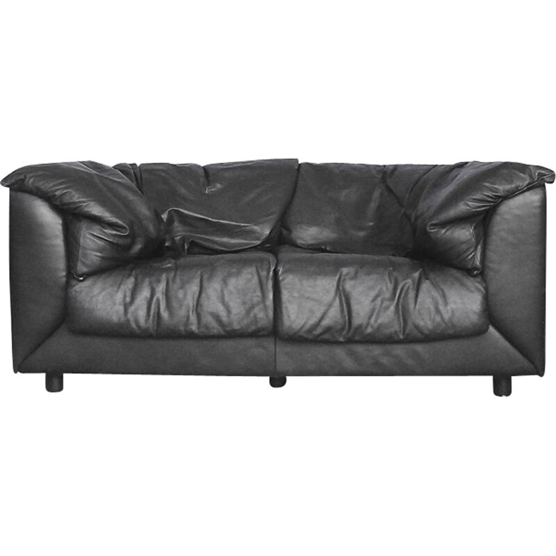 Vintage 2-seater sofa in black leather by De Sede