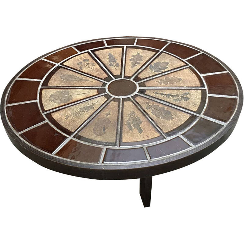 Vintage oval coffee table by Roger Capron