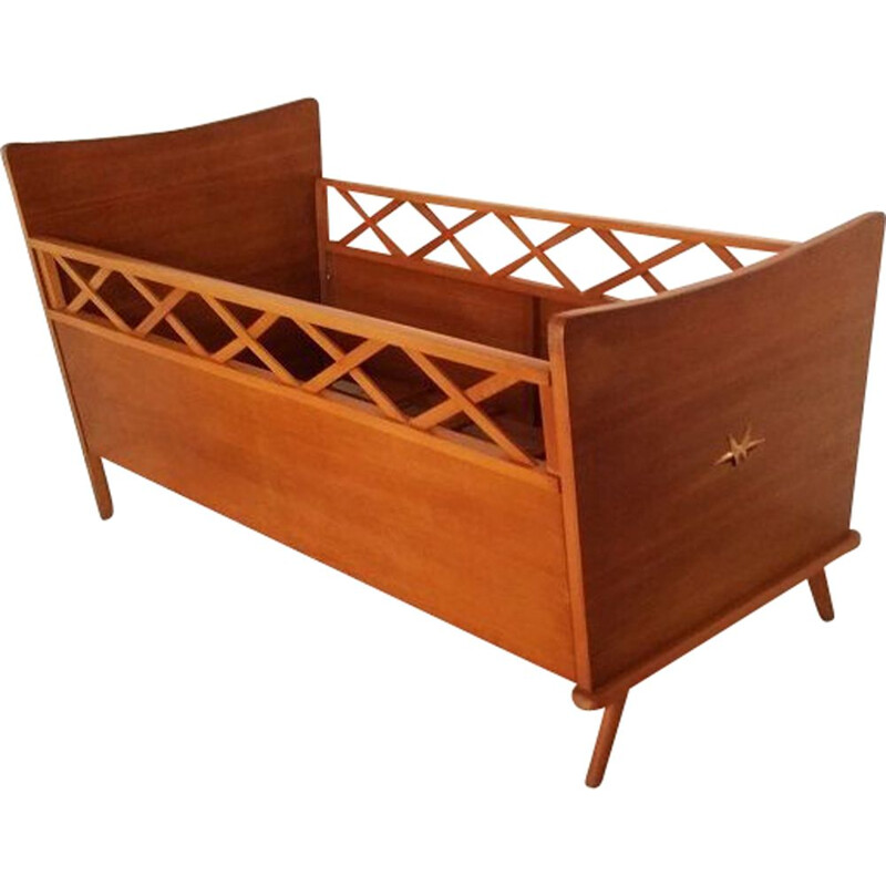 Vintage french wooden bed for infant 1960