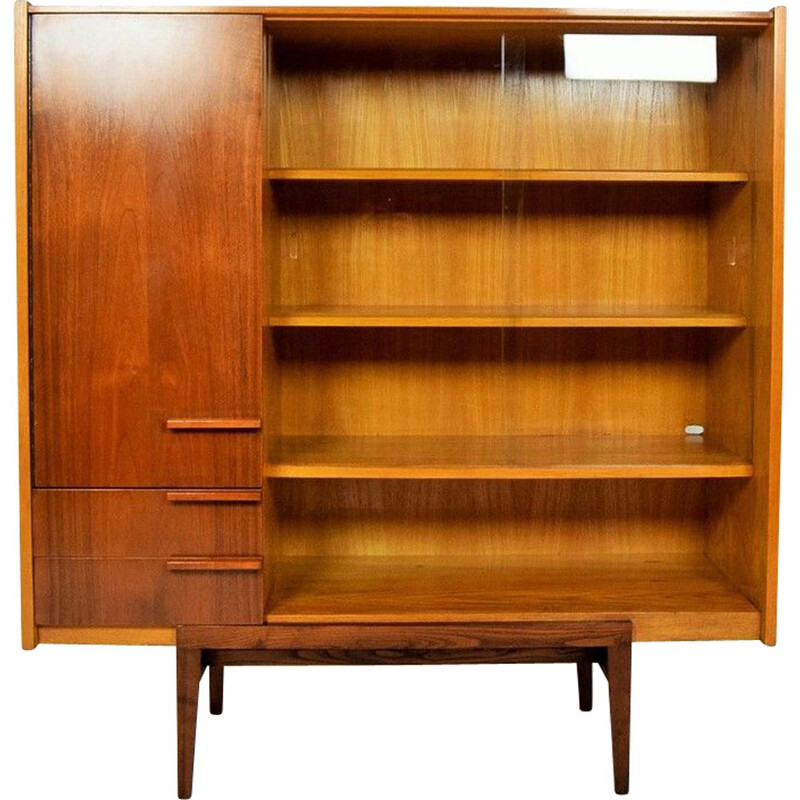 Vintage Bookcase For UP Zvody In Mahogany And Glass 1960s