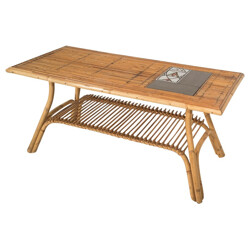 Coffee table in rattan and ceramic, Roger CAPRON - 1950s