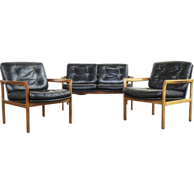 Vintage danish seating group in teak and leather 1960