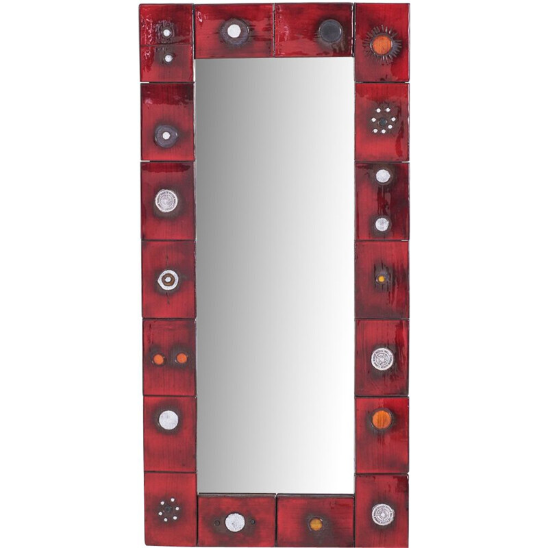 Vintage ceramic tile mirror in red glaze by Oswald Tieberghien
