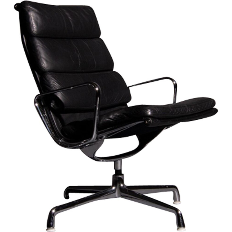 Vintage black armchair model EA 216 by Eames