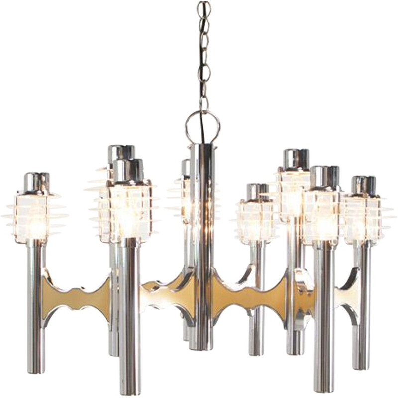 Vintage Italian chandelier in chrome by Gaetano Sciolari