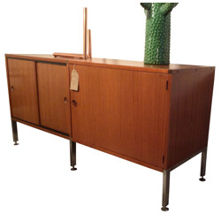 Adjustable sideboard in teak and chromium, ARP (Guariche, Motte and Mortier) - 1950s