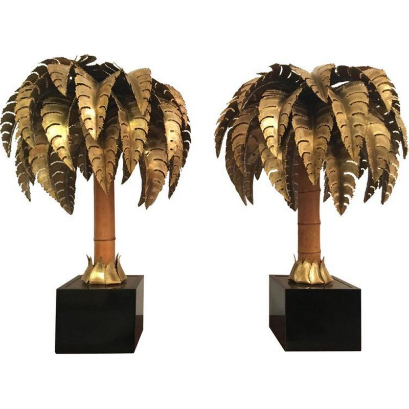 Pair of vintage Palm lamps by Maison Jansen