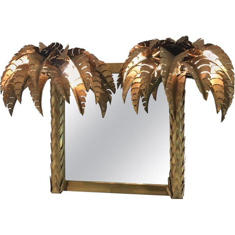 Vintage Palm mirror by Maison Jansen