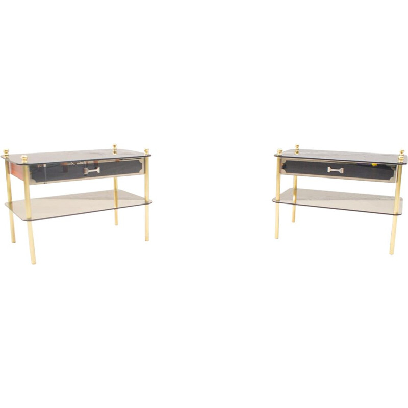 Set of 2 vintage Italian night stands in smoked and mirrored glass