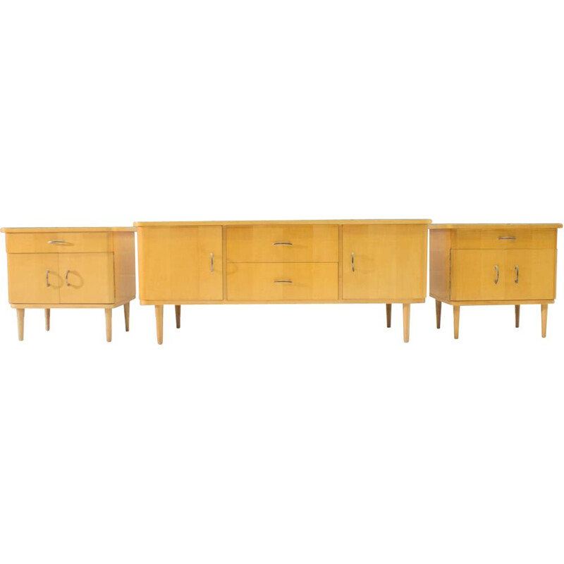 Set of 3 vintage sideboards in wood