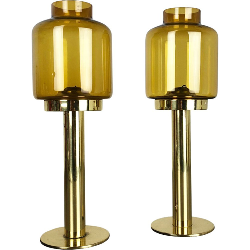 Set of 2 Claudia candleholders in brass