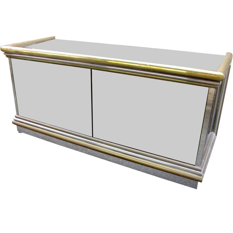 Vintage Italian highboard with mirror and electric bar