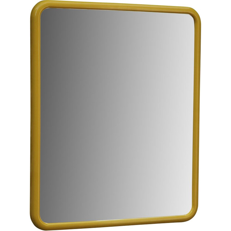 Vintage French mirror in yellow ABS plastic