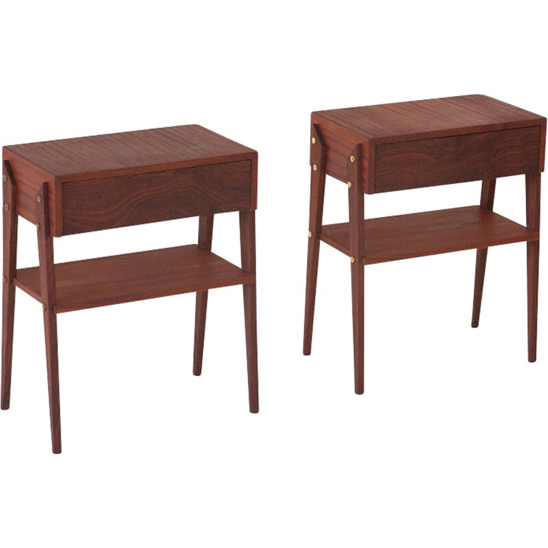 Set of 2 vintage Italian night stands in mahogany