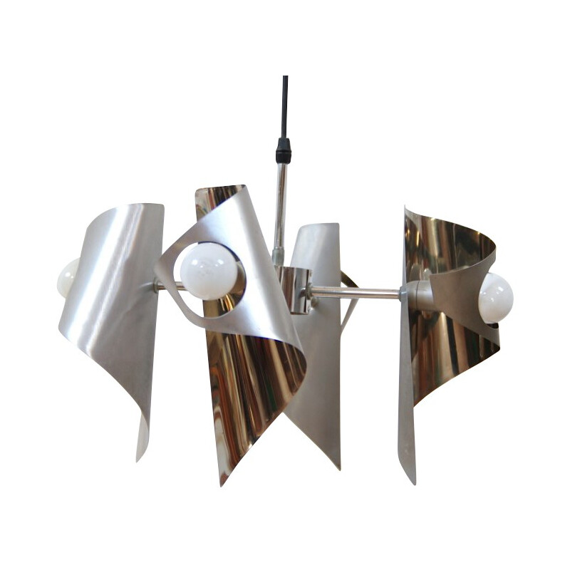 Vintage chandelier in metal and stainless - 1970