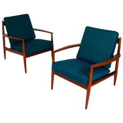 Pair of Scandinavian armchairs in teak and wool, Grete JALK, France and Son edition - 1960s